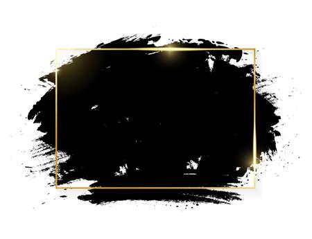Gold shiny glowing rectange frame with grunge black brush strokes isolated on white background. Golden luxury line border for invitation, card, sale, fashion, advertising, photo. Vector illustration