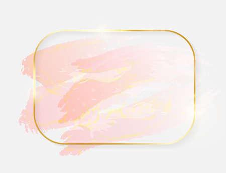 Gold shiny glowing rectangle frame with rose pastel brush strokes isolated on white background. Golden luxury line border for invitation, card, sale, fashion, wedding, photo etc. Vector illustration Illustration