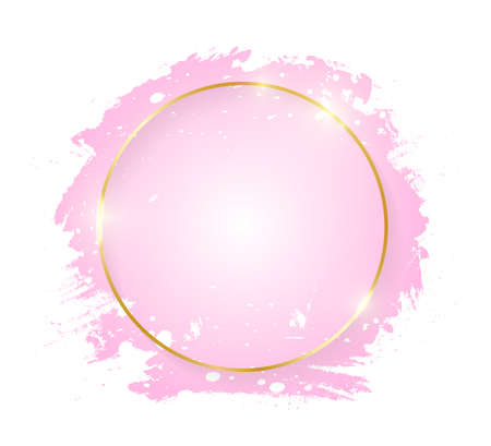Gold shiny glowing round frame with pink brush strokes isolated on white background. Golden line border for invitation, card, sale, fashion, wedding. Woman, Valentine or mother day concept. Vector Vettoriali