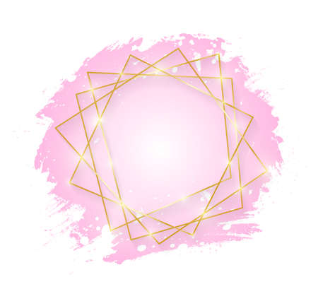 Gold shiny glowing art frame with pink brush strokes isolated on white background. Golden line border for invitation, card, sale, fashion, wedding. Woman, Valentine or mother day concept. Vector