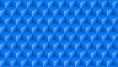 Realistyczny niebieski kwadrat wzór 3D. Medern sześcian tekstury. Tło symetrii geometrycznej. Ilustracja wektorowa