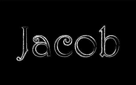 Jacob male name. Grunge style. Vintage hystorical typeface art design. Lineage concept. Old style sign. Vector illustration
