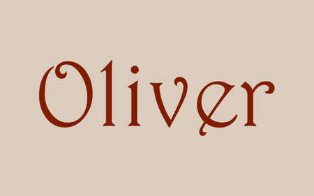 Oliver male name. Vintage hystorical typeface art design. Lineage concept. Old style sign. Vector illustration