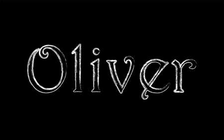 Oliver male name. Grunge style. Vintage hystorical typeface art design. Lineage concept. Old style sign. Vector illustration