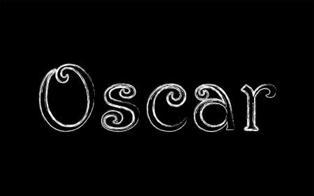 Oscar male name. Grunge style. Vintage hystorical typeface art design. Lineage concept. Old style sign. Vector illustration