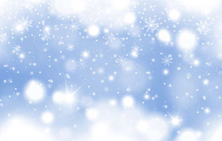 Winter blue glowing background of falling snow with clouds and snowflakes. Christmas and New Year card design. Vector illustration Vektorové ilustrace