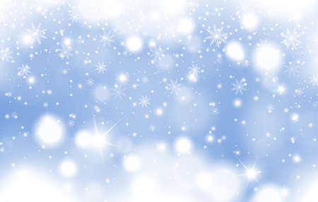 Winterblau leuchtender Hintergrund des fallenden Schnees mit Wolken und Schneeflocken. Weihnachts- und Neujahrskartendesign. Vektor-Illustration Vektorgrafik