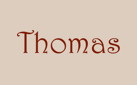 Thomas male name. Vintage hystorical typeface art design. Lineage concept. Old style sign. Vector illustration Ilustração