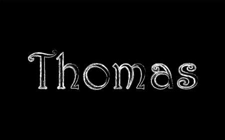 Thomas male name. Grunge style. Vintage hystorical typeface art design. Lineage concept. Old style sign. Vector illustration