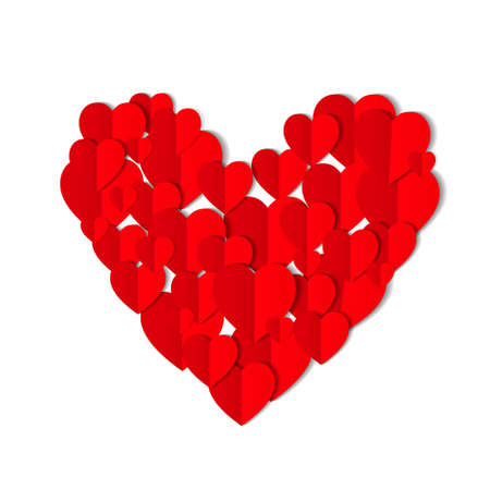 Red origami paper hearts isolated on white background. Valentines day concept. Love, feelings, tenderness design. Vector illustration