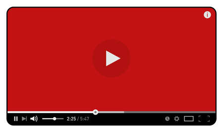 Red simple modern video player design template for web and mobile apps flat style isolated on white. Vector illustration Illustration