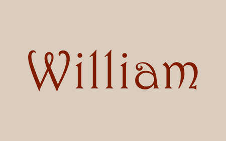 William male name. Vintage hystorical typeface art design. Lineage concept. Old style sign. Vector illustration