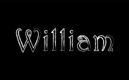 William male name. Grunge style. Vintage hystorical typeface art design. Lineage concept. Old style sign. Vector illustration