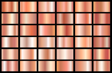 Realistic pink gold gradient texture pack. Shiny golden rose metal foil gradient set. Vector illustration