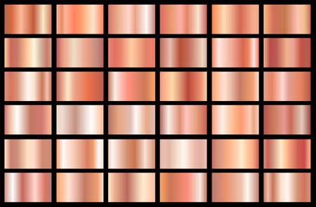 Realistisches Texturpaket mit Farbverlauf in Roségold. Glänzendes goldenes rosafarbenes Metallfolien-Farbverlaufsset. Vektor-Illustration