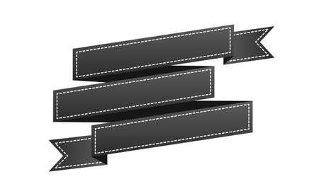 Embroidered black ribbon isolated on white.