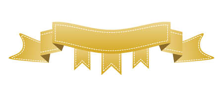Embroidered gold ribbon isolated on white.