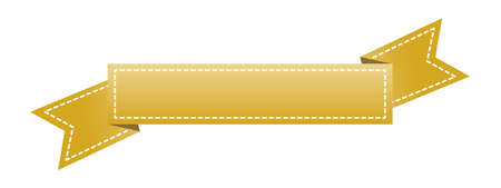 Nastro d'oro ricamato isolato su bianco.