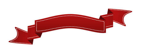 Embroidered red ribbon isolated on white.