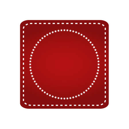 Embroidered red ribbon stamp isolated on white. Illustration