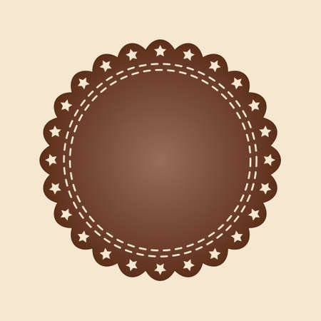 Embroidered flat style brown round stamp isolated on ivory background. Brown fabric vintage tape. Stock Illustratie