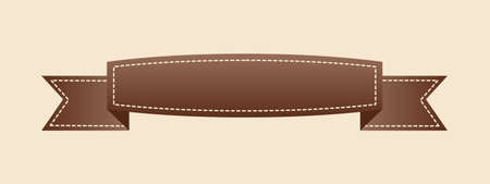 Embroidered flat style brown ribbon isolated on ivory background. Brown fabric vintage tape. Template for banner, award, sale, icon, logo, label, poster etc. Vector illustration Stock Illustratie