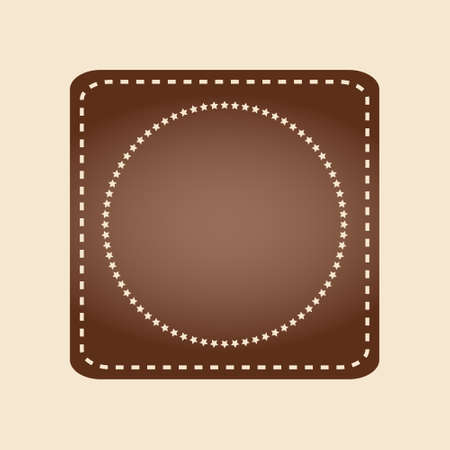 Embroidered flat style brown square stamp isolated on ivory background. Brown fabric vintage tape. Template for banner, award, sale, icon, logo, label, poster etc. Vector illustration Stock Illustratie