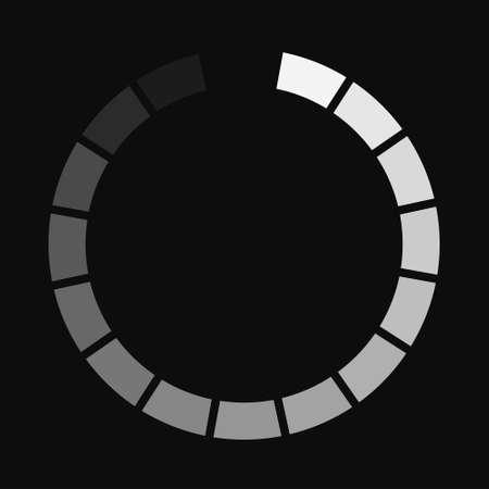 Signe de téléchargement rond isolé sur fond noir. Icône de chargement. Barre de chargement de données. Illustration vectorielle Vecteurs