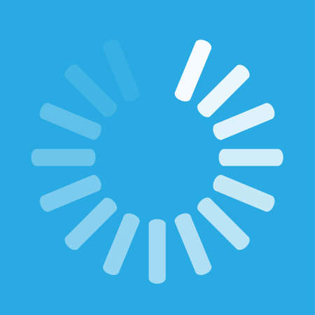 White round download sign isolated on blue background. Load icon. Data loading bar. Vector stock illustration