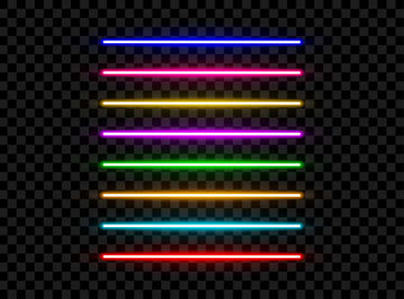 Realistic led neon tube light pack isolated on dark transparent background. Vector illustration Vetores