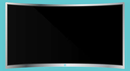 Realistic modern curved 4k TV monitor isolated on cyan background. Empty screen template mockup. Blank copy space on PC screen. Vector illustration