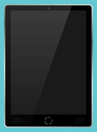 Realistic black modern tablet PC isolated on cyan background. Empty screen template. Blank copy space on modern mobile device. Vector illustration Ilustrace