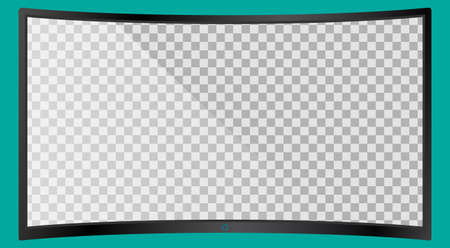 Realistic modern curved 4k TV monitor isolated on cyan background. Empty transparent screen template mockup. Blank copy space on PC screen. Vector illustration
