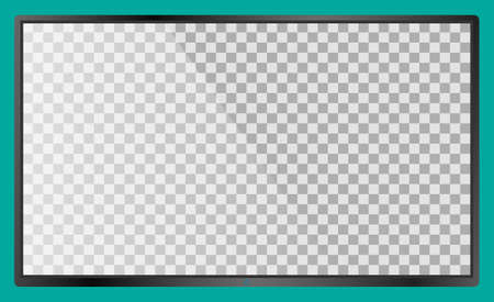 Realistic modern flat 4k TV monitor isolated on cyan background. Empty transparent screen template mockup. Blank copy space on PC screen. Vector illustration