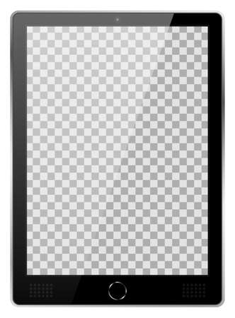 Realistic black modern tablet PC isolated on white background. Empty transparent screen template. Blank copy space on modern mobile device. Vector illustration 向量圖像