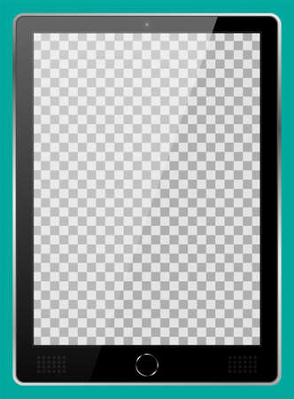 Realistic black modern tablet PC isolated on cyan background. Empty transparent screen template. Blank copy space on modern mobile device. Vector illustration Ilustrace
