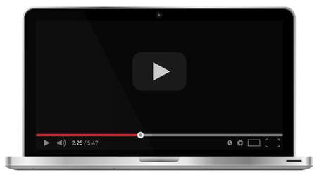 Realistic modern 4k laptop isolated on white background. Classic video player template on screen. Online video watching conecpt. Vector illustration Illustration
