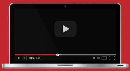 Realistic modern 4k laptop isolated on red background. Classic video player template on screen. Online video watching conecpt. Vector illustration Illustration
