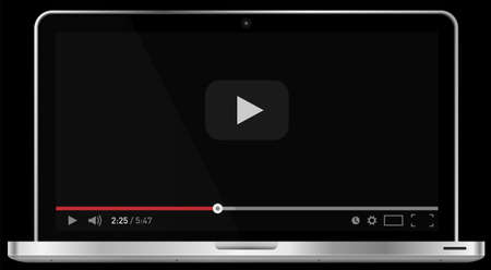 Realistic modern 4k laptop isolated on black background. Classic video player template on screen. Online video watching conecpt. Vector illustration Illustration