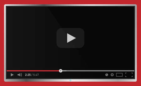 Realistic modern flat 4k TV monitor isolated on red background. Classic video player template on screen. Online video watching conecpt. Vector illustration