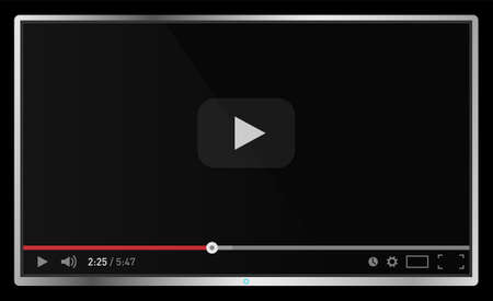 Realistic modern flat 4k TV monitor isolated on black background. Classic video player template on screen. Online video watching conecpt. Vector illustration