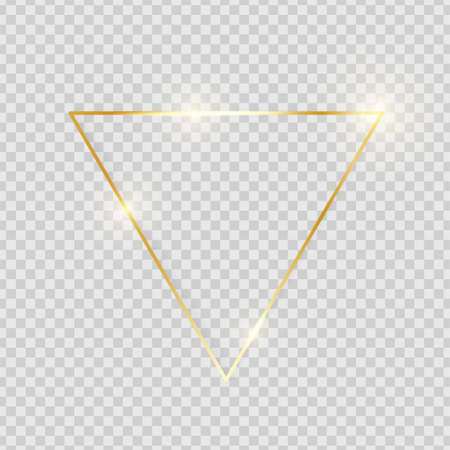 Gold shiny glowing vintage triangle frame with shadows isolated on transparent background. Golden luxury realistic border. Wedding, mothers or Valentines day concept. Xmas and New Year. Vector