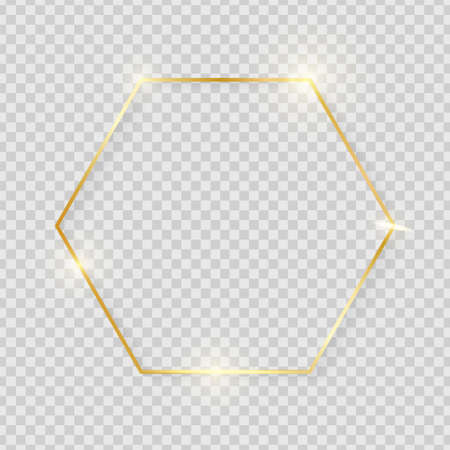 Gold shiny glowing vintage hexagon frame with shadows isolated on transparent background. Golden luxury realistic border. Wedding, mothers or Valentines day concept. Xmas and New Year abstract. Vector