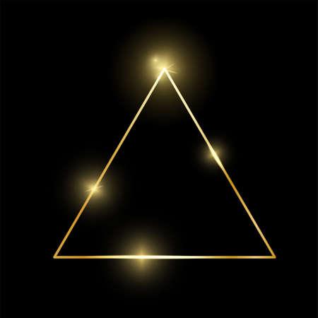 金发光的发光的葡萄酒三角框架与在黑背景隔绝的阴影。金色奢侈品现实边框。婚礼,母亲或情人节概念。圣诞节和新年摘要。向量
