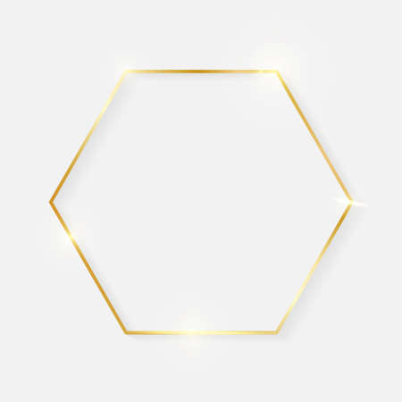 Gold shiny glowing vintage hexagon frame with shadows isolated on white background. Golden luxury realistic border. Wedding, mothers or Valentines day concept. Xmas and New Year abstract. Vector Ilustrace