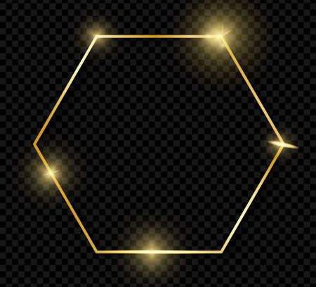 Gold shiny glowing vintage hexagon frame with shadows isolated on transparent background. Golden luxury realistic border. Wedding, mothers or Valentines day concept. Xmas and New Year abstract. Vector Vettoriali