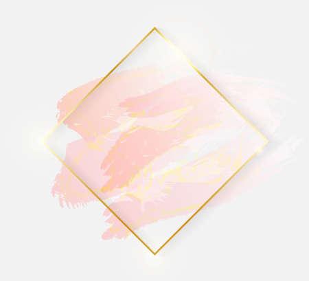 Gold shiny glowing rhombus frame with rose pastel brush strokes isolated on white background. Golden luxury line border for invitation, card, sale, fashion, wedding, photo etc. Vector illustration Illustration