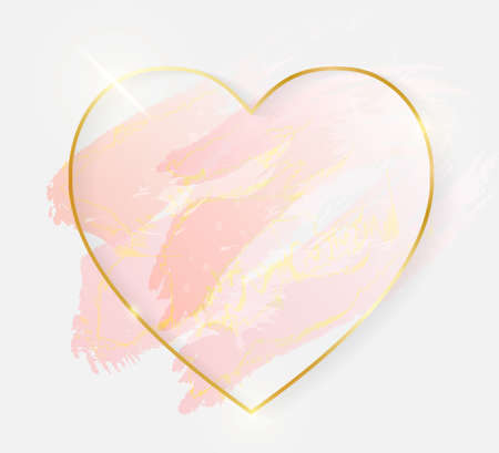 Gold shiny glowing heart frame with rose pastel brush strokes isolated on white background. Golden luxury line border for invitation, card, sale, fashion, wedding, photo etc. Vector illustration