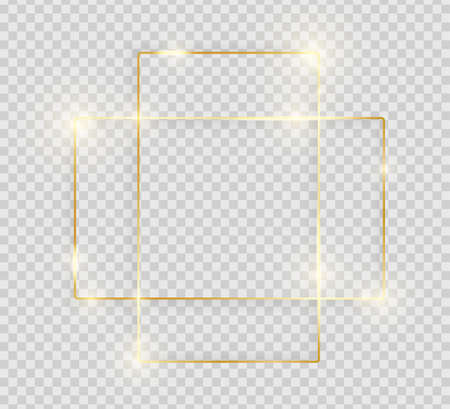Gold shiny glowing vintage frame with shadows isolated on transparent background. Decorative golden luxury line border for invitation, card, sale, photo etc. Vector illustration