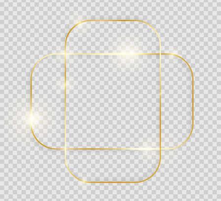 Goldglänzender leuchtender Vintage-Rahmen mit Schatten auf transparentem Hintergrund. Dekorative goldene Luxuslinie für Einladung, Karte, Verkauf, Foto usw. Vektorillustration